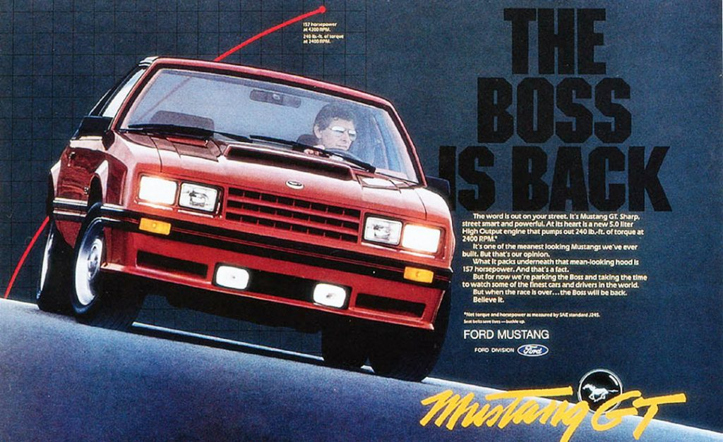 """82 Mustang GT """"Boss is back"""" Ford Brochure Ad"""