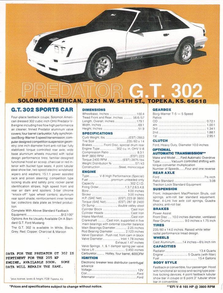Predator GT302 Mustang Sales Brochure