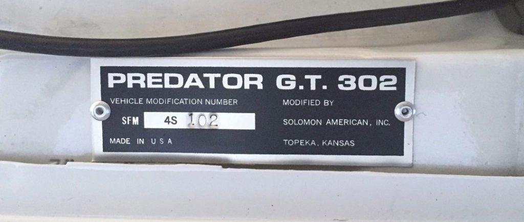 Predator G.T. 302 name plate