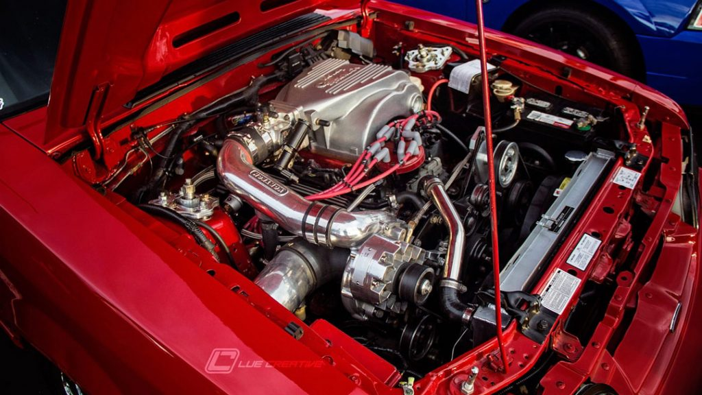 Supercharged fox Mustang engine bay